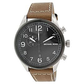 Michael Kors MK7068 Hangar Black Dial Leather Strap Chronograph Watch