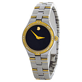 Movado Black Dial Two-Tone Bangle Bracelet Womens Watch