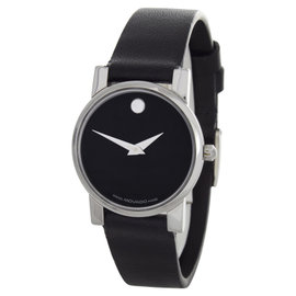 Movado Black Dial Black Leather Strap Band Silver-Tone Wrist Womens Watch