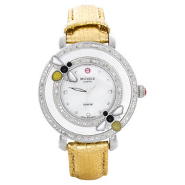 Michele MWW20C000008 Bumble Bee White Mother Of Pearl Diamonds and Golden Leather Band Quartz 39mm Strap Watch