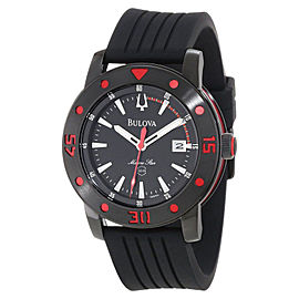 Bulova Marine Star 98B164 Black Dial Black Rubber Mens Watch