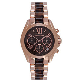 Michael Kors MK5944 Chrono Rose Gold-Tone Brown Acrylic Bracelet Women's Watch