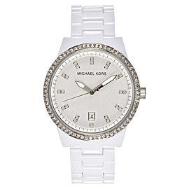 Michael Kors MK5204 Silver Dial White Acrylic Bracelet Women's Watch