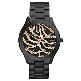 Michael Kors Slim Runway MK3316 Zebra-Pattern Crystal Pave Dial Womens Watch