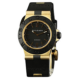Bulgari Diagono AL 32 G Yellow Gold Automatic Black Rubber Watch