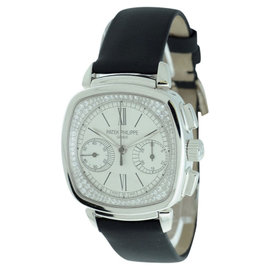 Patek Philippe Chronograph Diamond Dial 18K White Gold Womens Watch
