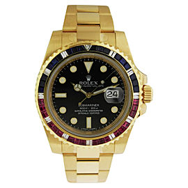 Rolex 116618 BK Submariner 18K Yellow Gold Black Dial Automatic Watch