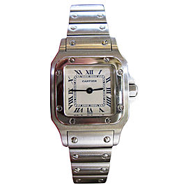 Cartier Santos Stainless Steel Quartz Roman Numeral Dial Womens Watch