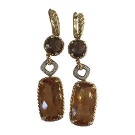 David Yurman Chatelaine 18K Yellow Gold with Citrine Smoky Quartz and Diamond Mosaic Earrings