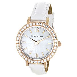 Anne Klein AK/1442WTRG Swarovski Crystals White Leather Strap Womens Watch