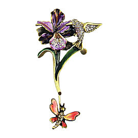 Jay Strongwater Orchid & Hummingbird Swarovski Pin