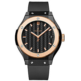 Hublot 581.co.1781.rx Classic Fusion Quartz Ceramic & 18K Rose Gold 33mm Mens Watch