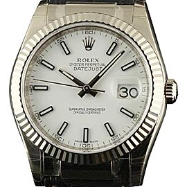 Rolex Datejust 36mm 116139 18K White Gold Leather 2004 Watch