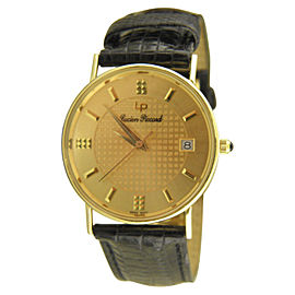 Lucien Piccard 24762 14K Yellow Gold & Leather Quartz 30mm Mens Watch