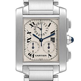 Cartier Tank Francaise Chronoflex Chronograph Steel Mens Watch W51001Q3