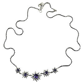 David Yurman 925 Sterling Silver Starburst 5 Stations Amethyst Necklace