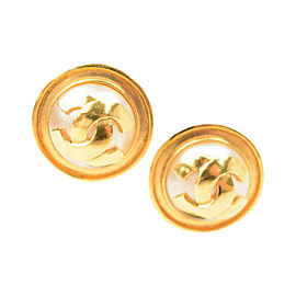 Chanel Gold Tone Metal & Simulated Glass Pearl Round CC Clip On Earrings
