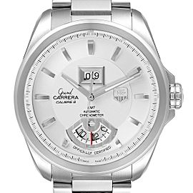 Tag Heuer Grand Carrera GMT Chronograph Silver Dial Mens Watch WAV5112
