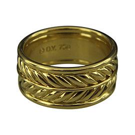 David Yurman 18K Yellow Gold Chevron Band Ring Size 9.75