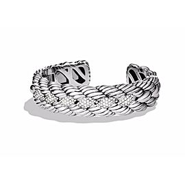 David Yurman Sterling Silver 1.06ctw White Diamonds Woven Cable Cuff Bracelet