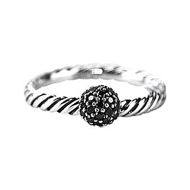 David Yurman 925 Sterling Silver Black Diamond Ball Stack Ring Size 6.75 & 7