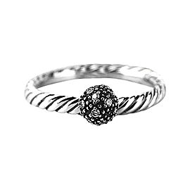David Yurman 925 Sterling Silver White Diamond Ball Stack Ring Size 6