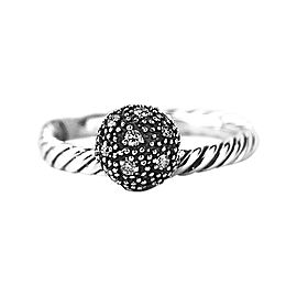 David Yurman 925 Sterling Silver White Diamond Ball Stack Ring Size 5, 6 & 7