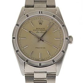 Rolex Air King 14010 Stainless Steel Engine Bezel Silver Automatic 34mm Unisex Watch