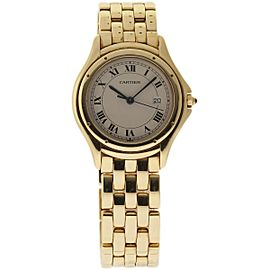 Cartier Cougar 18K Yellow Gold Ivory Dial Quartz 32mm Womens Watch