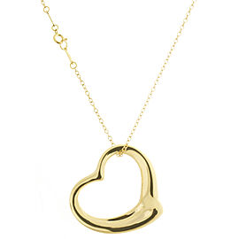 Tiffany & Co. 18K Yellow Gold Large Open Heart Shaped Pendant Chain Necklace