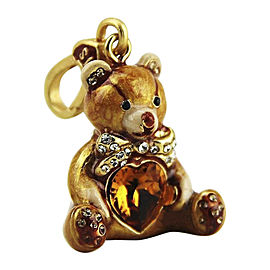Jay Strongwater Enamel Swarovski Crystals Charming Simon Teddy Bear With Heart Charm