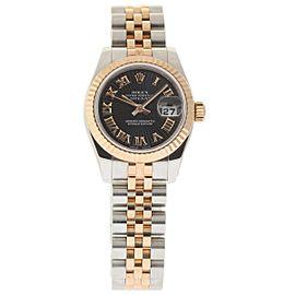 Rolex Datejust 179171 Steel Rose Gold Black Sunbeam Automatic 26mm Womens Watch