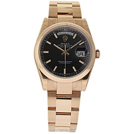 Rolex Day-Date 118205 18K Rose Gold & Black Dial 36mm Unisex Watch