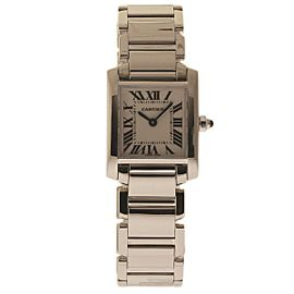 Cartier Tank Francaise W50012S3 18K White Gold Quartz 20mm Womens Watch