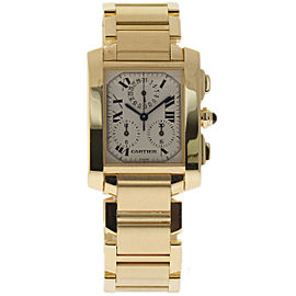 Cartier Tank Francaise W50005R2 Yellow Gold White Dial Quartz 28mm Mens Watch