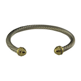David Yurman 925 Sterling Silver and 18K Yellow Gold with Diamond Cable Classic Bracelet
