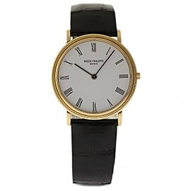 Patek Philippe Calatrava 3744J Yellow Gold Black Leather 33mm Unisex Watch