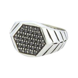 David Yurman Modern Chevron Signet 925 Sterling Silver with 0.72ct. Black Diamonds Ring Size 10