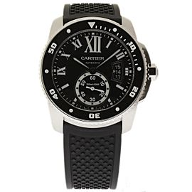 Cartier Calibre De W7100056 Stainless Steel & Rubber Black Dial Automatic 42mm Mens Watch