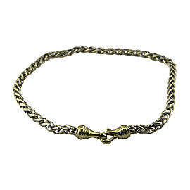 David Yurman 925 Sterling Silver & 18K Yellow Gold Wheat Chain Necklace