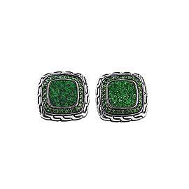 John Hardy 925 Sterling Silver Classic Chain Tsavorite Green Garnet Cufflinks