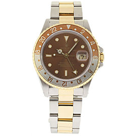 Rolex GMT Master II 16753 Stainless Steel & 18K Yellow Gold Brown Dial Automatic 40mm Mens Watch