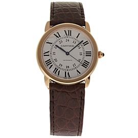 Cartier Ronde Solo W2RN0008 18K Rose Gold & Leather Automatic 36mm Mens Watch