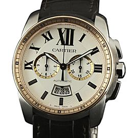 Cartier Calibre De W7100043 Stainless Steel/Pink Gold & Leather Silver Dial Automatic 42mm Mens Watch