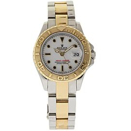 Rolex Yacht-Master 69623 Stainless Steel & 18K Yellow Gold White Dial 29mm Womens Watch