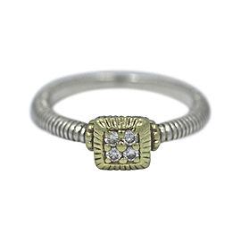 Judith Ripka 18K Yellow Gold 925 Sterling Silver Diamond Ring Size 6.5