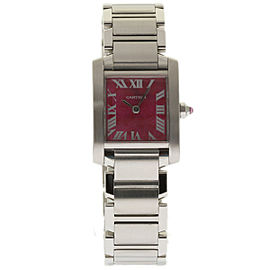 Cartier Tank Francaise W51030Q3 Stainless Steel Raspberry Dial Quartz 20mm Womens Watch