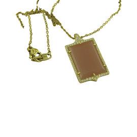 Judith Ripka 18K Yellow Gold Guava Chalcedony and Diamond Pendant Necklace