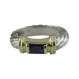David Yurman 925 Sterling Silver 14K Yellow Gold Amethyst Ring Size 5
