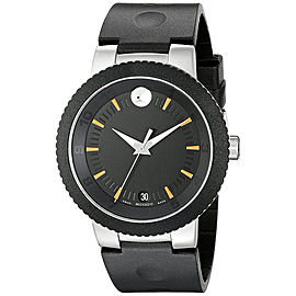 Movado 0606926 Sport Edge Black Dial Black Rubber Strap 42.50mm Mens Watch